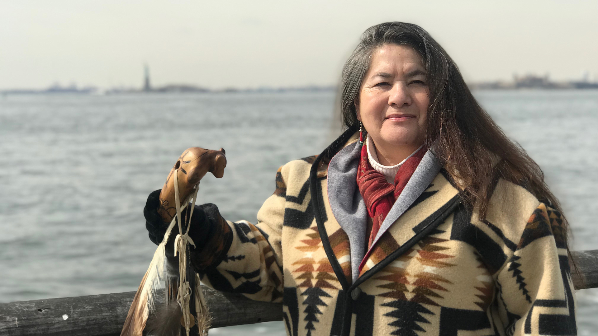 Clanmother Louise at Statue of Liberty